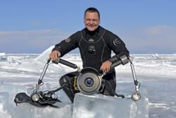 Ice Diving, opening a ice hole, lake baikal, Russia, Baikal Tek